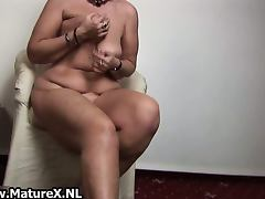 Horny old housewife enjoys squeezing