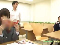 2 Asian Schoolgirls Sucking Schoolguy Cock In The Classroo