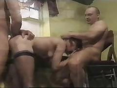 British waitresses get fucked in a cafe in a classic scene