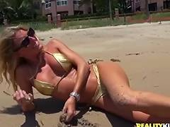 naughty mom on the beach