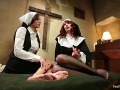 Kinky Lesbian Nuns Maitresse Madeline and Gia Dimarco Having Feet Sex