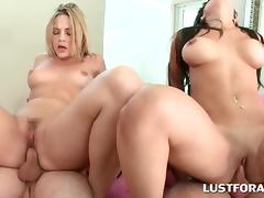 Close-up of big ass babes riding hard cocks in 4some