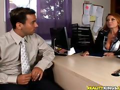 Redhead Janet Mason rides big dick and gets massive facial