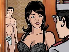 lana sucks archer's super hard dick