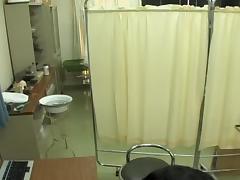 Jap in fishnets fingered during perverted medical exam