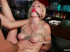 Sexy blonde blows and gets stunningly fucked in a bar