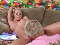 Charming and sassy blondie is in deep passion