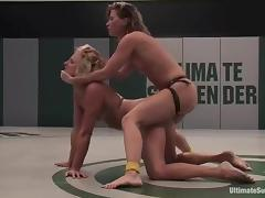 Two tow-haired chicks trinket their soaked pussies after affray