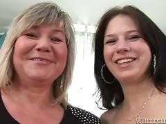 Juicy babe and a grandma are having a lesbian sex