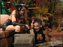 Nasty lesbians in leather dresses toy their hot pussies