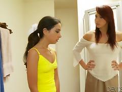 Rehead MILF and brunette teen give blowjob & handjob combo