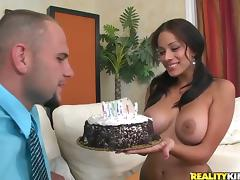 Jamie Valentine gets her tits kneaded and her pussy smashed