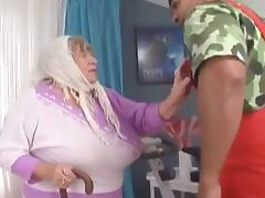 THis granny is going to get dicked by a black dude