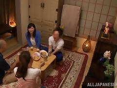 An Asian girl gets fucked on a floor after a dinner