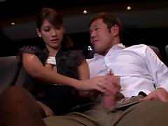 shy japanese lady sucking a cock in the cinema