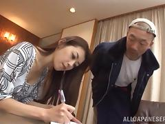 Asian Cutie In Sexy Pantyhose Gets A Nasty Cumshot