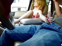 Dakota Skye rides a big cock in the backseat of a car