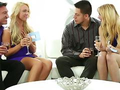 Classy Blondes With Long Hair Gets Hammered In A Group Sex