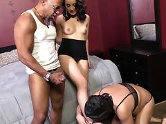 Humiliated cuckold watches his wife fucking with a black stud