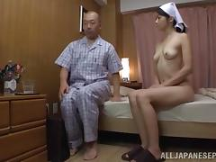Maki Hokujo hot Japanese milf gets old man laid