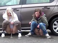 Few girls pissing in public
