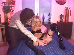 Blonde bombshell Hillary Scott gives head and gets fucked doggystyle